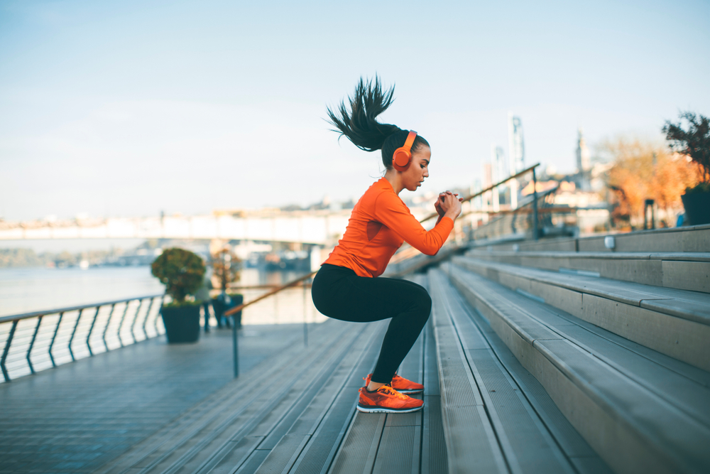 woman jumping outdoor